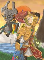 Link and Midna at Twilight by saurodinus