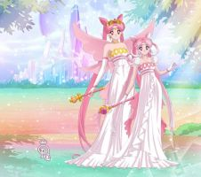 Queen Serenity III and Princess Pearl Serenity  by LadyIlona1984