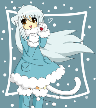 Winter cat girl by Lavender105