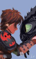Hiccup and  toothless by LeiMoustache