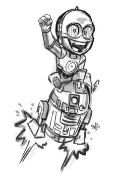 Droid Bros - Chibis - sketch commission by EryckWebbGraphics