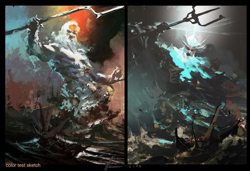 Poseidon color sketch by neisbeis