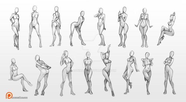 Female poses chart by Aomori