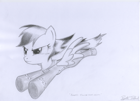Rainbow Dash flying fanart by RatchetHuN