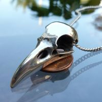 Raven Skull Necklace in Metal by thepewterwolf