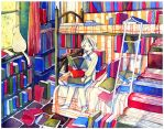 reader and cat by koyamori