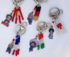 Hetalia Keychains with Flags by ShishoDesigns