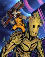 Rocket and Groot by wildragon