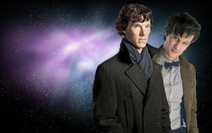Sherlock and Doctor space WP by drawingdream