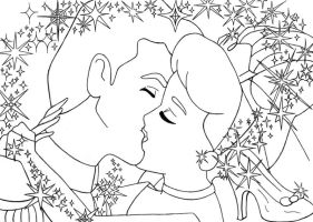kiss Cinderella+Prince lineart by lizzzy-art