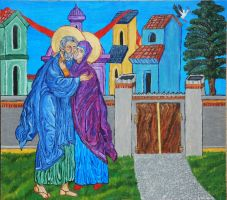 The Embrace of Saints Joachim and Anna by CodyVBurkett