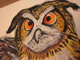 Acrylic Eagle owl(close up) by TheDorkyDerpster