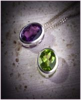 Amethyst and Peridot Bezel Set Pendants by Sarahorsomeone