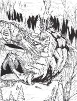 Baragon vs El Gusano Gigante by Deadpoolrus
