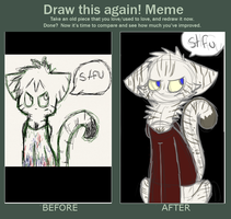 draw this again meme: the guy i like as a cat by undead-feline