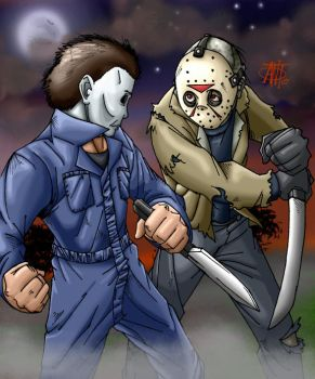 Myers vs Voorhees Round 2 by AntManTheMagnif