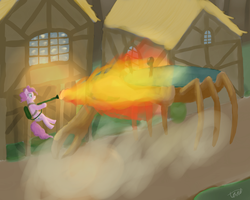 Pinkie Pie Vs. a giant Crab by Toadstooliv