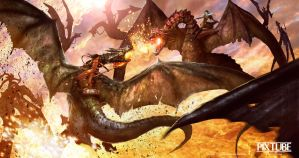 Dragon Combat by Mineworker