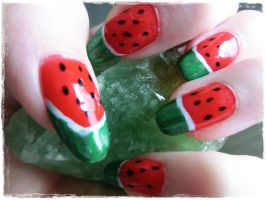 Watermelon Nailart by xXLukiraXx