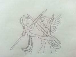 a traditional fight sketch by TwistedSteelPony