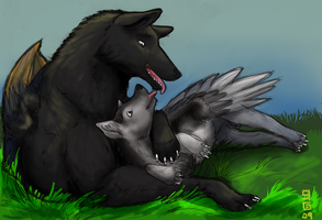 Winged Wolves by aireona93