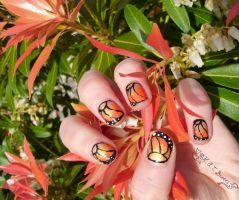 Nail Monarch Butterfly Flower by Kythana