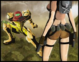 Samus Vs. Lara: Collab with LC by tombraidervcroft