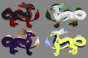 West + East Dragon Adoptables by IrishWolven