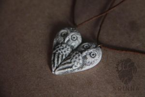 Sweet owls pair necklaces from polymer clay by Krinna