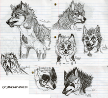 Bunch O Wolves by KasaraWolf