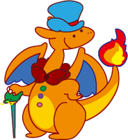 dressing up Charizard by canczar