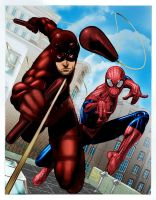 Daredevil and Spiderman by EComrad