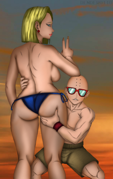 Summer 18 and Krillin by DENDEROTTO