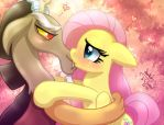 MLP FIM - Discord And Fluttershy Kissing by Joakaha