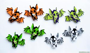 Flock of Skull Bat Magnets: For Sale by WonderDookie