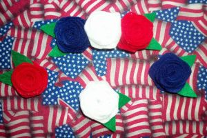 4th of July Rose Hair Clips by TashaAkaTachi