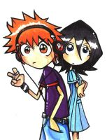 Ichigo and Rukia by spuds-n-stuff