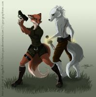 Red fox and silver wolf by ClaireLyxa