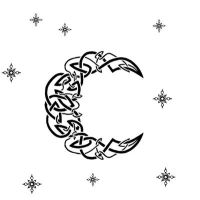 Knotwork Moon and Stars by Kinaheso