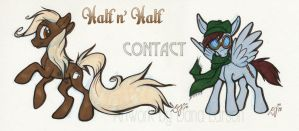 MLP OC's: Half n' Half and Contact by Zelaphas