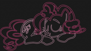 Sleepy Pinkie Pie LineArt Neon-Glow Wallpaper by GT4tube