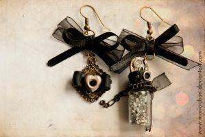 Steampunk, earrings by maria-chan