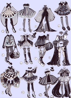 SOLD-Monochrome outfits by Guppie-Adopts