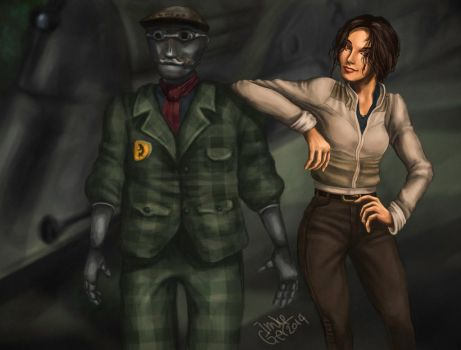 Syberia: Kate Walker and Oscar by SuperImki