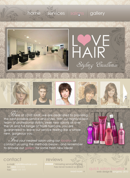 LOVE HAIR Website Design by Kezzi-Rose