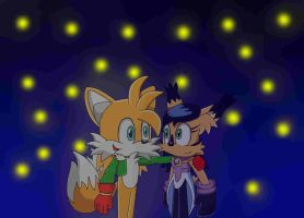 Tails and Nicole night scene by Laura10211
