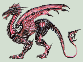 pink and black dragon by yektuikuto