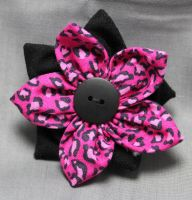 Cheetah Print Fabric Flower Hair Barrette by jenlucreations