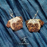 Pug Pup Earrings by TrollGirl