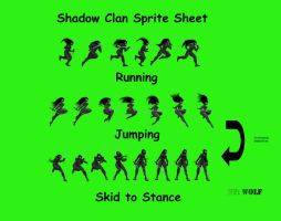 Shadow Clan Sprite sheet by WolfGriffin
